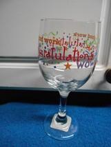 "NEW WINE GOBLETS SET OF 2 GLASS CONGRATULATIONS CONGRATS 7"" TALL 2 7/8"" ... - $10.39"