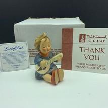 Goebel MJ Hummel club figurine germany box coa Joyful 53 lute guitar gir... - $57.42