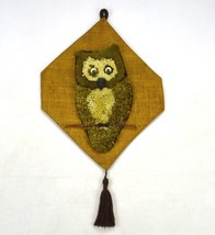 Vintage Owl Rug Knot Knit Plush Tapestry Burlap Outsider Primitive Wall ... - $18.80