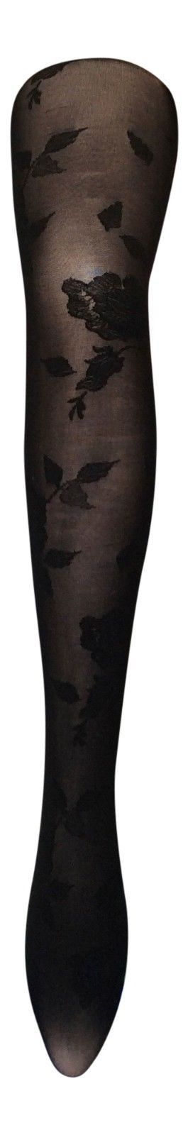 Sock Snob - Womens 40 Denier Opaque Black Colorful Floral Rose Patterned Tights