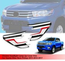Chrome Side Headlights Cover Trim For Toyota Hilux Revo Pickup 2015 - 2017 - $62.30