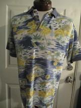 Tommy Bahama Polo Hawaiian Shirt Sz M Ocean Volcano Palm Trees Tiki Hut ... - $37.39