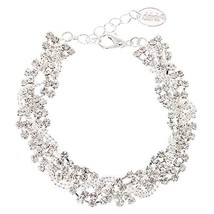 Claire's Girl's Silver Rhinestone Braided Chain Bracelet - $16.23