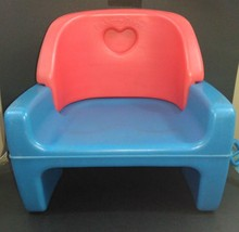 Fisher Price 1990 Blue Red Heart Baby Chair High Booster Seat with Strap... - $15.29