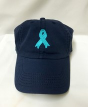 Ovarian Cancer Awareness Embroidered Teal Ribbon Navy Baseball Hat Cap New - $14.67