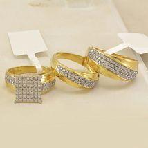 3Pc Trio Engagement Ring Set 14K Yellow Gold Finish 2Ct D/VVS1 Diamond  - $99.99