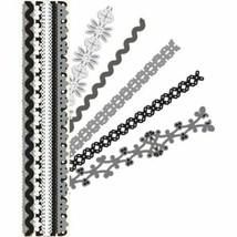 K&Company Sheer Simplicity Black & White Adhesive Borders - Scrapbooking