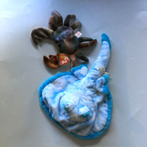 RARE Claude Crab Tie Dye Beanie Baby Plush Stuffed PLUS Fiesta Sting Ray - $44.55