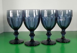 Libbey Duratuff Dusty Blue GIBRALTAR Water Glass Goblet (s) LOT OF 4 - $28.66