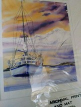 "Archival Print and Mat  From Original Watercolor Sailing Boat ""Ready To Unfurl"" image 3"