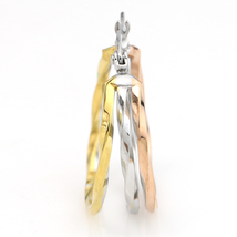 Unique Tri-Color Silver, Gold & Rose Tone Hoop Earrings- United Elegance image 3