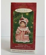 Mistletoe Miss 2001 Hallmark Keepsake Porcelain Ornament Set of 2 Girl a... - $8.99
