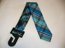 George Men's Neck Tie Duo Plaid Dark Teal Dress Tie New - $10.19