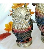"Mercury Glass Owl Ombre Silver Gold Purple Metal Stand Halloween Fall 9.5"" high - $28.21"