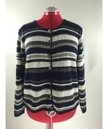 Reba Rose USA Striped Cotton Like Acrylic Long Sleeve Sweater Cardigan W... - $24.99