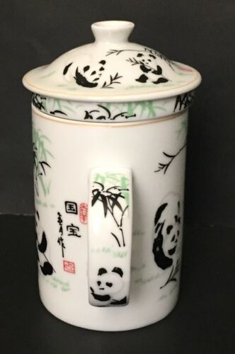 Panda Bear Tea Infuser Mug Tall Cup Leaf Strainer Lid White Black Green image 4