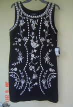 NWT ADRIANNA PAPELL BLACK FLORAL EMBROIDERED SHIFT DRESS SIZE L $120 image 2