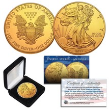 2019 1 Oz 999 Fine Silver American Eagle $1 Coin 24K Gold Gilded with BO... - $42.03