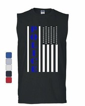 Police American Flag Muscle Shirt Serve and Protect Law Enforcement Sleeveless - $15.99+