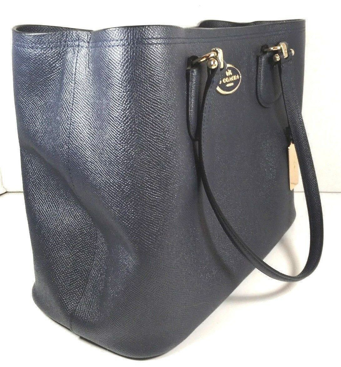 Coach Kitt Carryall Tote Navy Blue Crossgrain Leather Gold Tone HW with Dustbag image 3
