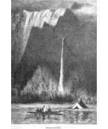 OREGON Multanomah Falls Columbia River - 1883 German Print - $16.20