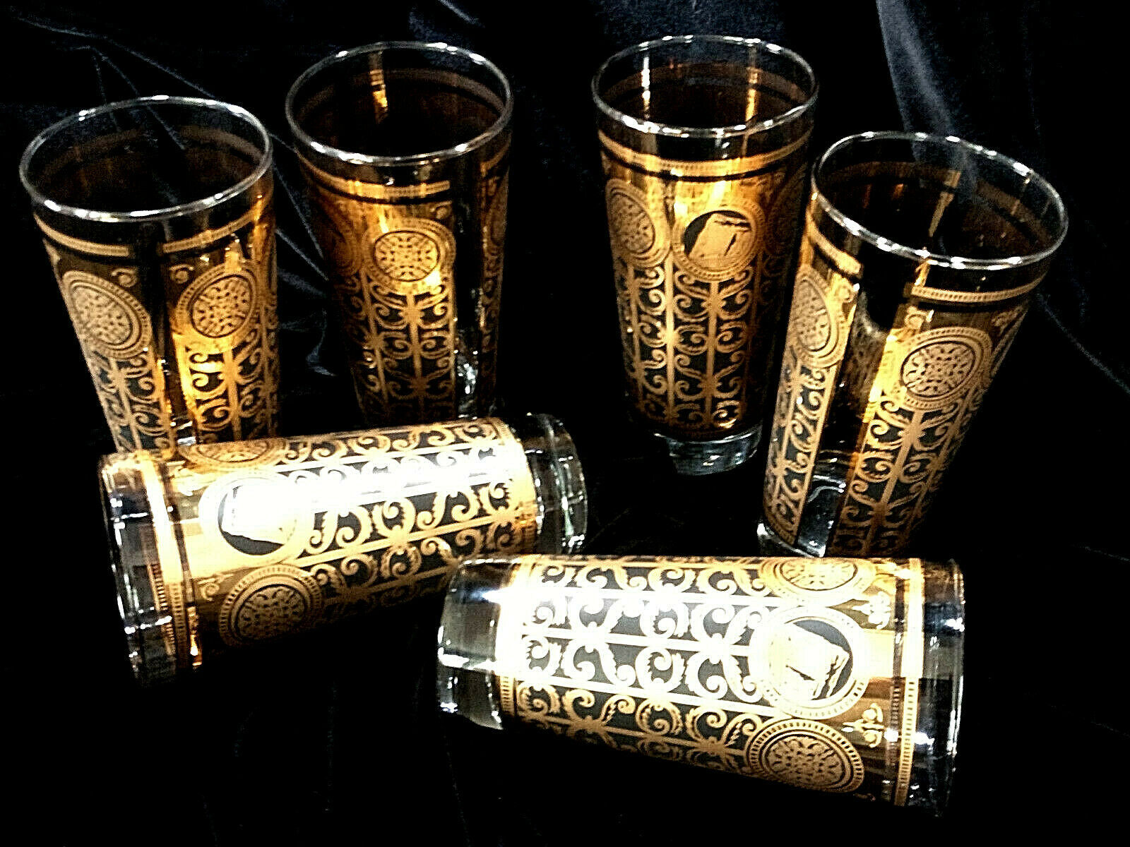 Vintage Set of 6 Libbey MCM Gold Black Drinking Glasses Prudential Tumblers 1965