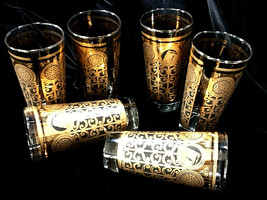 Vintage Set of 6 Libbey MCM Gold Black Drinking Glasses Prudential Tumblers 1965 image 1
