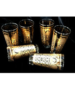 Vintage Set of 6 Libbey MCM Gold Black Drinking Glasses Prudential Tumbl... - $10.50