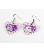 White Cat Resin Heart Earrings, Kawaii Jewelry, Handmade, Purple, Jfashion - $15.00