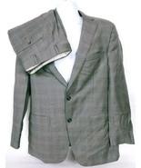 Samuelsohn Men's Dark Gray Plaid 2 Piece 2 Button 100% Wool Suit 42 Reg ... - $93.06