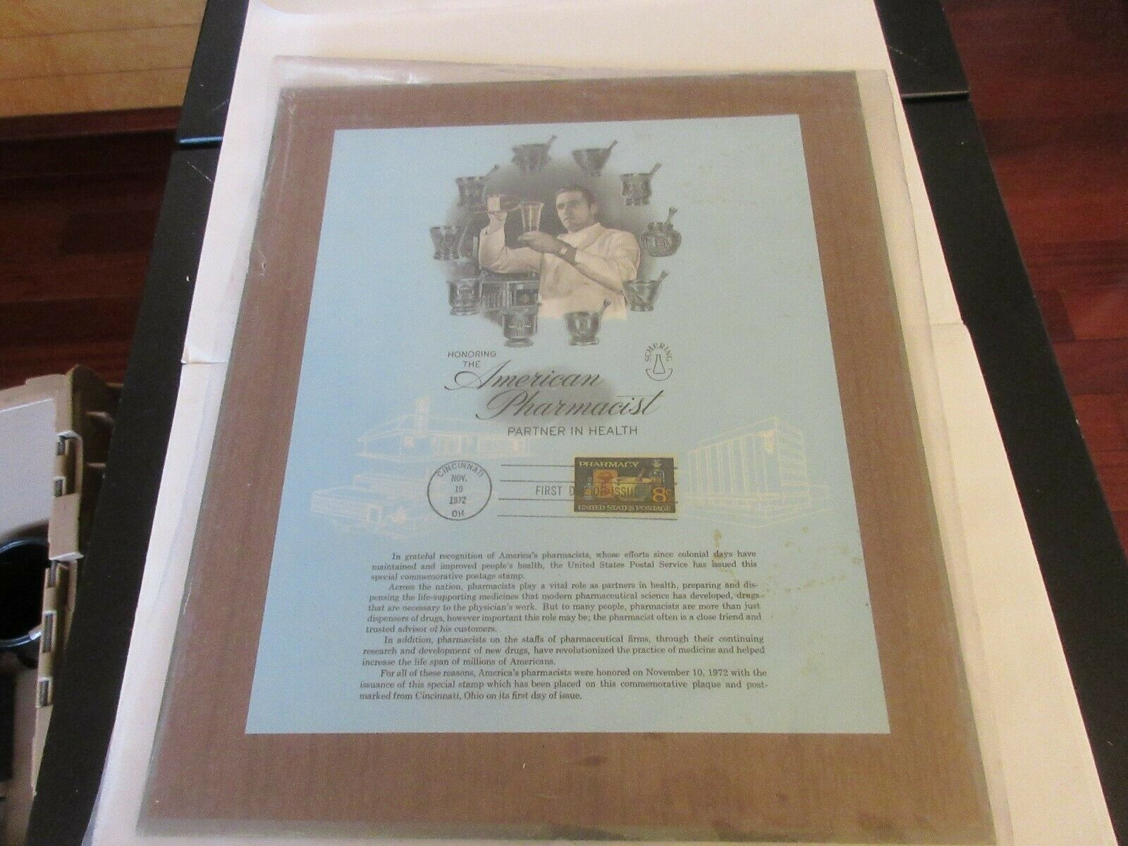 "Honor The American Pharmacist Partner In Health ,Plaque ,11/10/1972 , 11""X121/2"""
