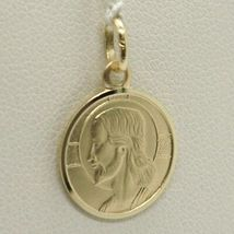 Pendant Medal Gold Yellow 750 18K Christ the Redeemer, Jesus 15 mm Diameter image 3