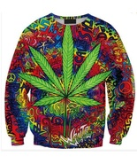 Harajuku style women/men tie dye hoodie crewneck sweatshirts weed maple ... - $23.55