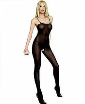 New Leg Avenue Women's Opaque Bodystocking with Spaghetti Straps Black 8208 image 1