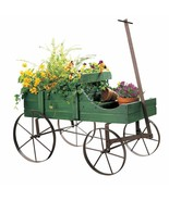 Country Flower Planter Stand distressed Wheel barrow garden wagon vintag... - $34.95