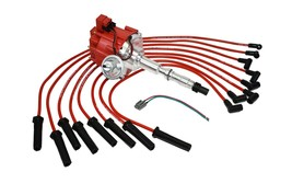 HEI DISTRIBUTOR 65K RED SPARK PLUG WIRES AMC JEEP 67-90 290 304 343 360 390 401 image 2