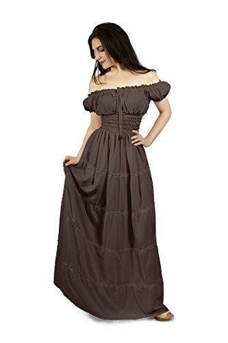 Renaissance Boho Peasant Hippie Maxi Tiered Dress (Taupe)