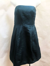 Ann Taylor 6 Dress Strapless Teal Silk Empire Waist Pleated Built In Bra Holiday - $21.53