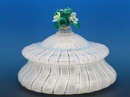 Vintage Murano Glass White Zanfirico Covered Candy Box or Dresser Jar c.1950 image 3