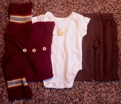 Boy's Size 3 M 0-3 Months 3 Pc Burgundy Sweater, Place Duck Top & Carter... - $16.00