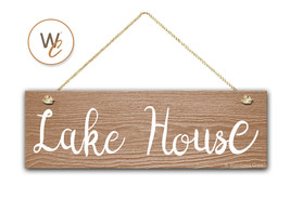 "Lake House Sign, 5.5"" x 17"" Wood Sign, Rustic Home Decor, Cabin Decor - $20.25"