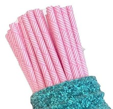 """7.75"""" hot pink multi-striped print paper straws / 6-25 pieces / party su... - $1.37 CAD+"""
