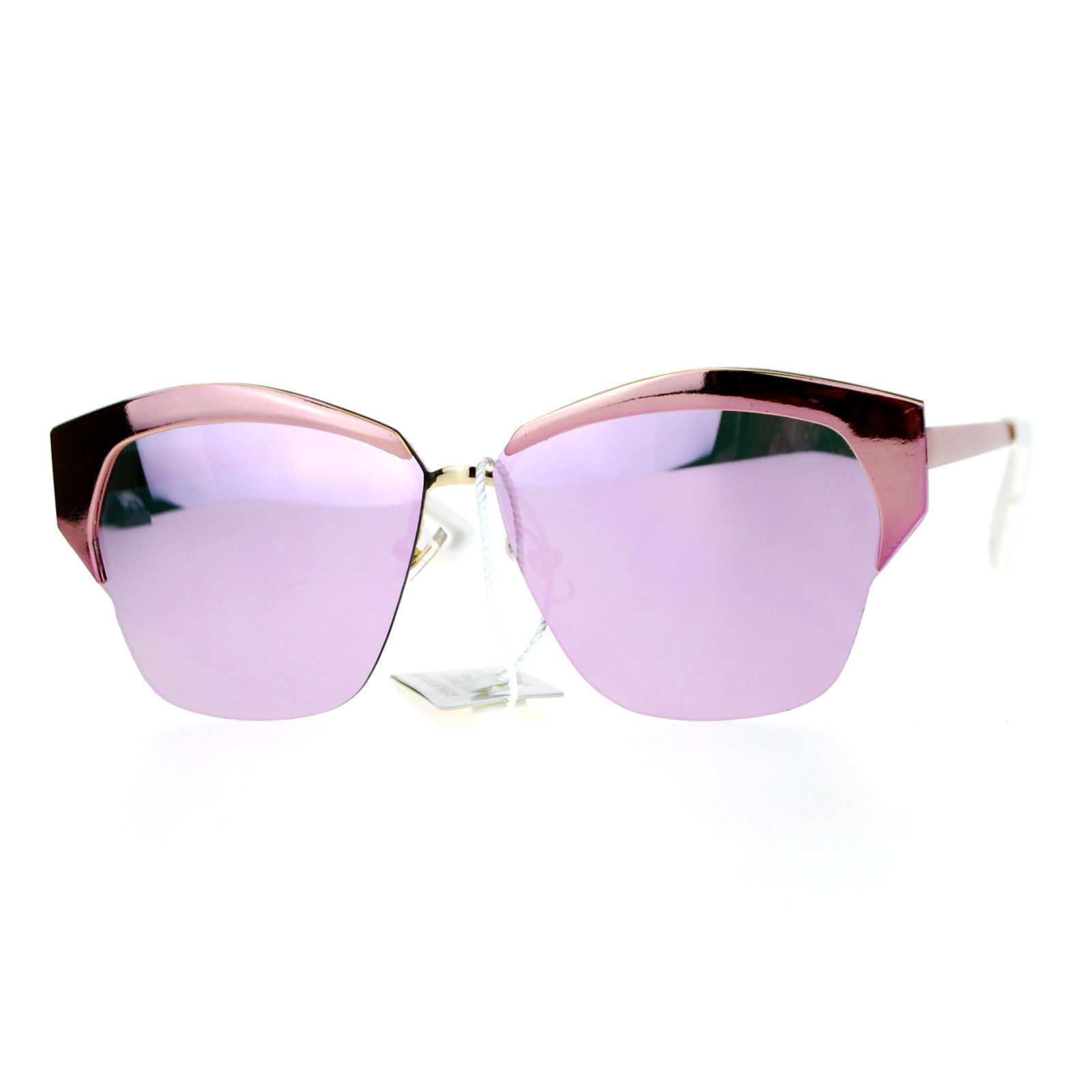 Womens Designer Sunglasses Half Rim Metal Top Trendy Flat Lens Shades