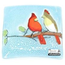 Fused Art Glass Cardinal Couple Bird Design Square Soap Dish Handmade Ecuador image 2
