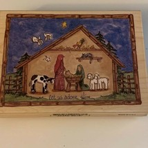 Nativity Scene Manger Large Let Us Adore Him STAMPS HAPPEN Rubber Stamp 90187 - $13.99