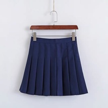 Women Girls Campus Style Pleated Mini Skirt School Skirt, Black White, Plus Size image 4