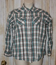 Womens Blue Brown Plaid Cowgirl Legend Snap Front Western Shirt Size XXL... - $7.91