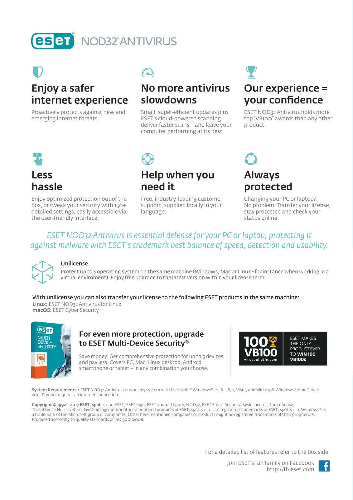 eset nod32 antivirus 3 devices global key pc eset 1 year