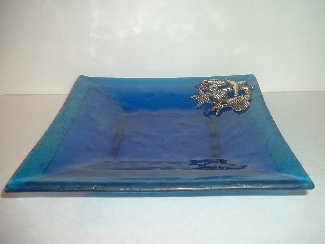 Primary image for Signed Yorgos Art Glass Square Dish with Silver Starfish and Shells