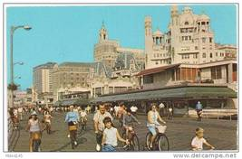 Atlantic City NJ Boardwalk Pre Casino Hotels Riding Bicycles 1973 Postcard - $6.69
